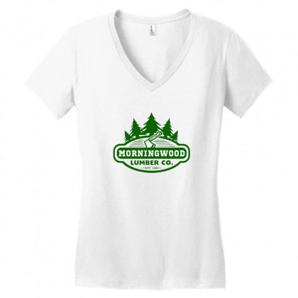 Morning Wood T Shirt Offensive T Shirt Saying Morningwood Lumber Compa Women's V-neck T-shirt Designed By Tee Shop