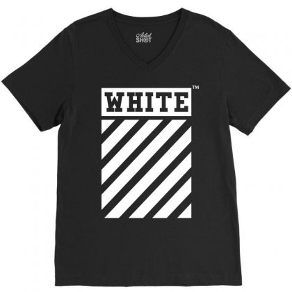 Off White V-neck Tee Designed By Toweroflandrose