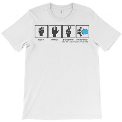 Rock Paper Scissors Hadouken Funny Video Gamer T-shirt Designed By Tee Shop