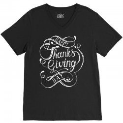 thanks giving day fun lettering V-Neck Tee | Artistshot