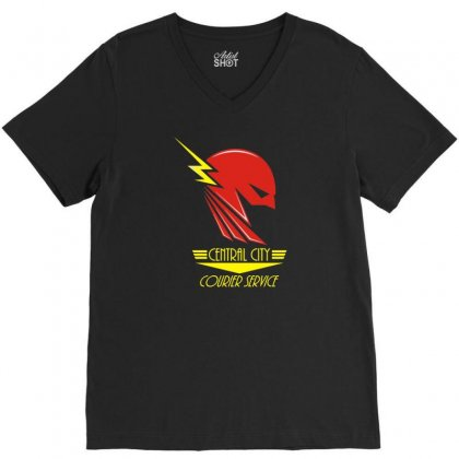 Central City Courier Service V-neck Tee Designed By R1sm4n