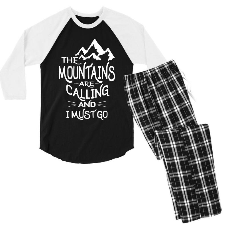 The Mountains Are Calling And I Must Go Men's 3/4 Sleeve Pajama Set   Artistshot