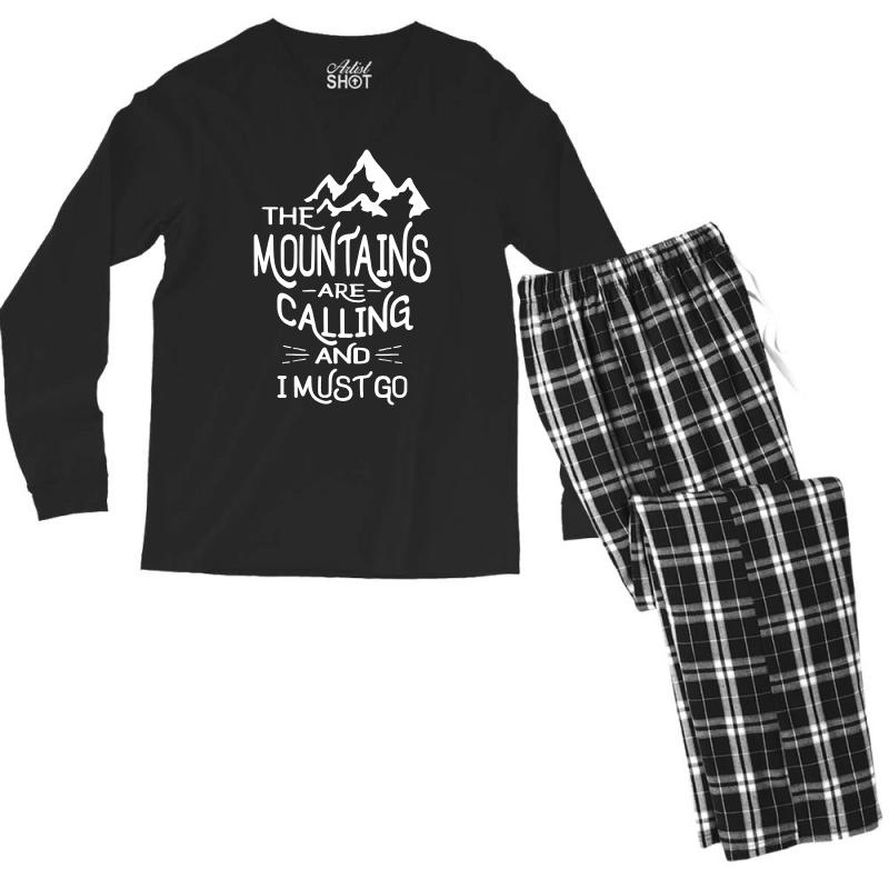 The Mountains Are Calling And I Must Go Men's Long Sleeve Pajama Set | Artistshot