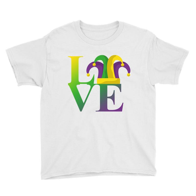 a7bbd0da640497 Custom Love Mardi Gras Youth Tee By Sengul - Artistshot