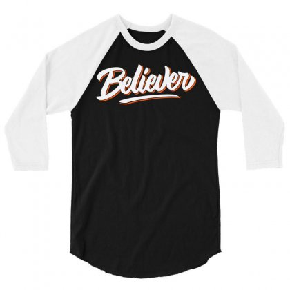 Believer 3/4 Sleeve Shirt Designed By Blqs Apparel
