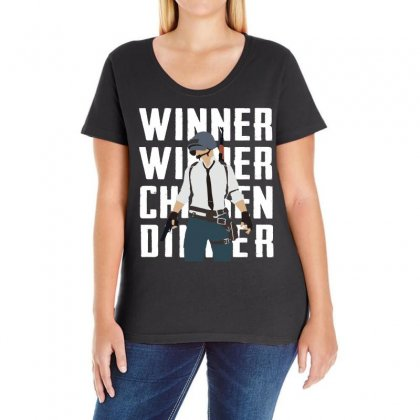 Winner Chicken Dinner Ladies Curvy T-shirt Designed By Black White