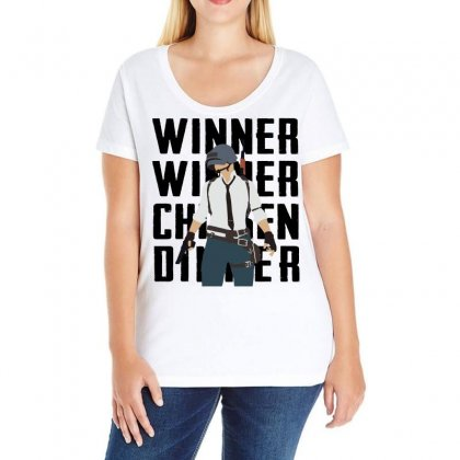 Winner Chicken Dinner (black) Ladies Curvy T-shirt Designed By Black White
