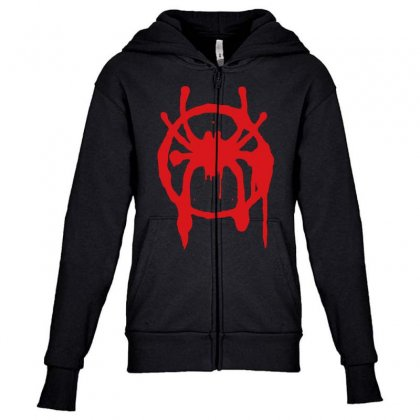 Into The Spider - Verse Youth Zipper Hoodie Designed By Meza Design