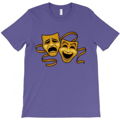 Comedy Tragedy Masks Gold T T-shirt Designed By Fizzgig