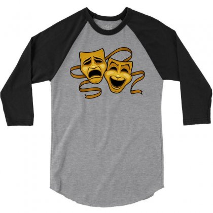 Comedy Tragedy Masks Gold T 3/4 Sleeve Shirt Designed By Fizzgig