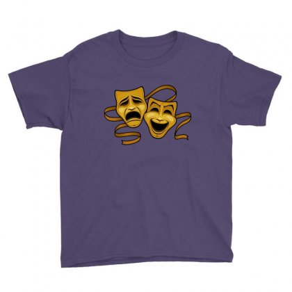 Comedy Tragedy Masks Gold T Youth Tee Designed By Fizzgig
