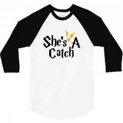 she is a catch for white 3/4 Sleeve Shirt | Artistshot
