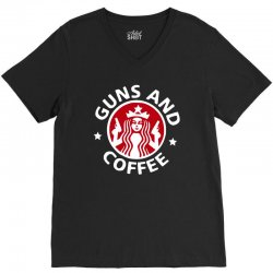 guns and coffee V-Neck Tee | Artistshot