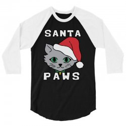 santa paws cat kitten ugly christmas 3/4 Sleeve Shirt | Artistshot