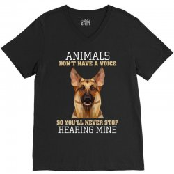 animals don't have a voice so you'll never stop hearing mine V-Neck Tee | Artistshot