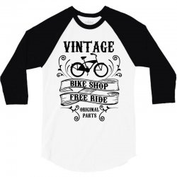 vintage bike shop free ride original parts 3/4 Sleeve Shirt | Artistshot