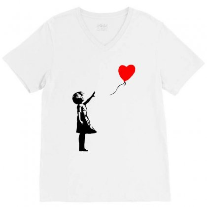 Banksy Girl With Balloon V-neck Tee Designed By Toweroflandrose