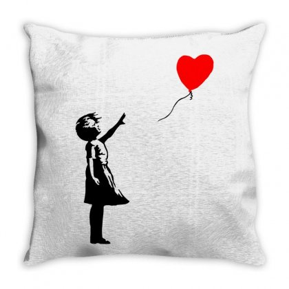 Banksy Girl With Balloon Throw Pillow Designed By Toweroflandrose