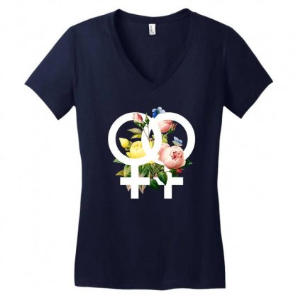Lesbian For Dark Women's V-neck T-shirt Designed By Zeynepu