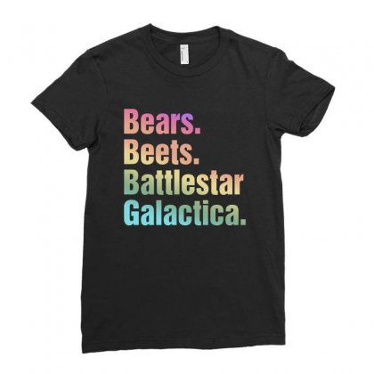 Bears Beets Battlestar Galactica Pastel Text Ladies Fitted T-shirt Designed By Sengul