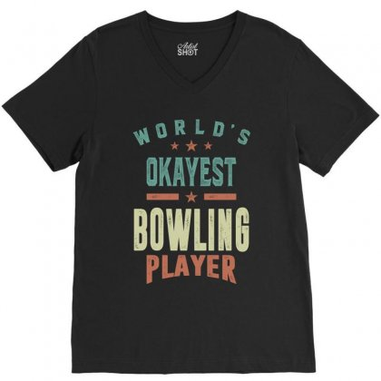 Bowling Player V-neck Tee Designed By Cidolopez