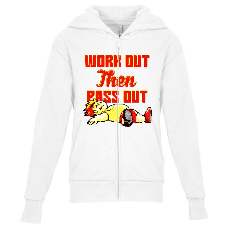 Work Out Then Pass Out Youth Zipper Hoodie | Artistshot
