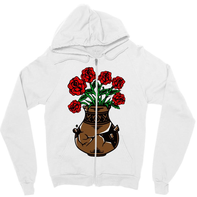 Flower And Vase Zipper Hoodie | Artistshot