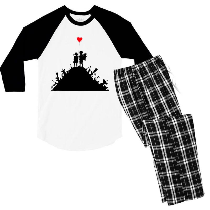 Banksy Kids On Guns Men's 3/4 Sleeve Pajama Set | Artistshot