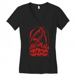burn the skull Women's V-Neck T-Shirt | Artistshot