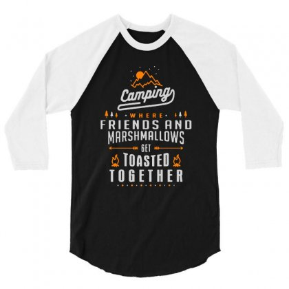 Camping Friends Marshmallov 3/4 Sleeve Shirt Designed By Ninabobo