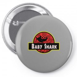 baby shark jurassic park parody Pin-back button | Artistshot