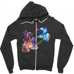 wall e and eve watercolor Zipper Hoodie | Artistshot