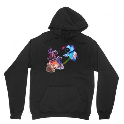 Wall E And Eve Watercolor Unisex Hoodie Designed By Sengul