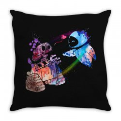 wall e and eve watercolor Throw Pillow | Artistshot