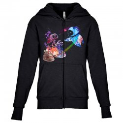 wall e and eve watercolor Youth Zipper Hoodie | Artistshot