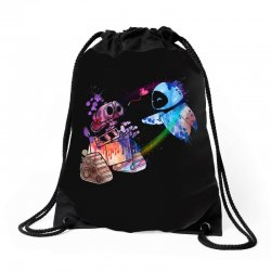 wall e and eve watercolor Drawstring Bags | Artistshot