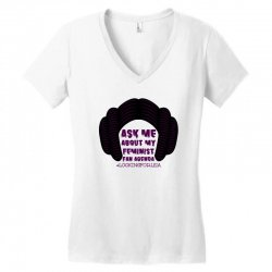 ask me about my feminist fan agenda looking for leia Women's V-Neck T-Shirt | Artistshot