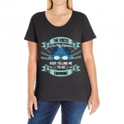 the voices in my head keep telling me to go swimming Ladies Curvy T-Shirt | Artistshot