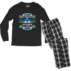 the voices in my head keep telling me to go swimming Men's Long Sleeve Pajama Set | Artistshot