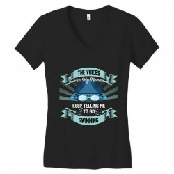 the voices in my head keep telling me to go swimming Women's V-Neck T-Shirt | Artistshot