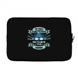 the voices in my head keep telling me to go swimming Laptop sleeve | Artistshot