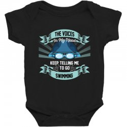 the voices in my head keep telling me to go swimming Baby Bodysuit | Artistshot