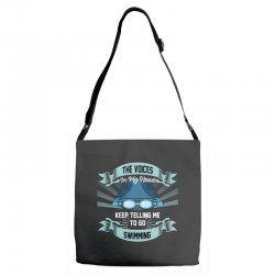 the voices in my head keep telling me to go swimming Adjustable Strap Totes | Artistshot