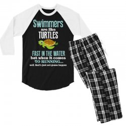 swimmers are like turtles fast in the water but when it comes to runni Men's 3/4 Sleeve Pajama Set   Artistshot