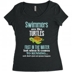 swimmers are like turtles fast in the water but when it comes to runni Women's Triblend Scoop T-shirt   Artistshot