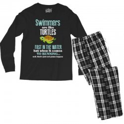swimmers are like turtles fast in the water but when it comes to runni Men's Long Sleeve Pajama Set   Artistshot