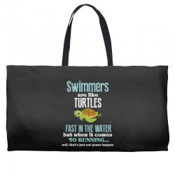 swimmers are like turtles fast in the water but when it comes to runni Weekender Totes   Artistshot