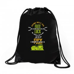 some rely on fate luck be when i'm in my jeep Drawstring Bags | Artistshot