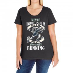 never underestimate an old man who loves running Ladies Curvy T-Shirt | Artistshot