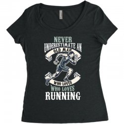 never underestimate an old man who loves running Women's Triblend Scoop T-shirt | Artistshot